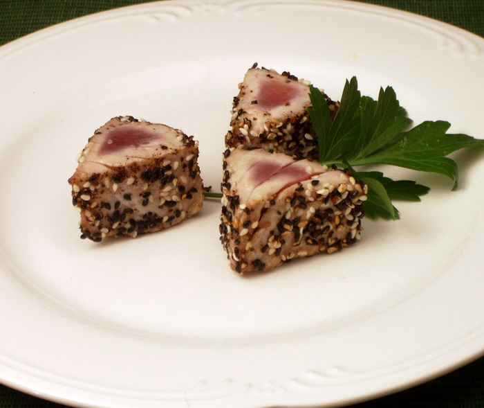"Seared Sesame Tuna Bites (Gollum would called them ""ruined"")"