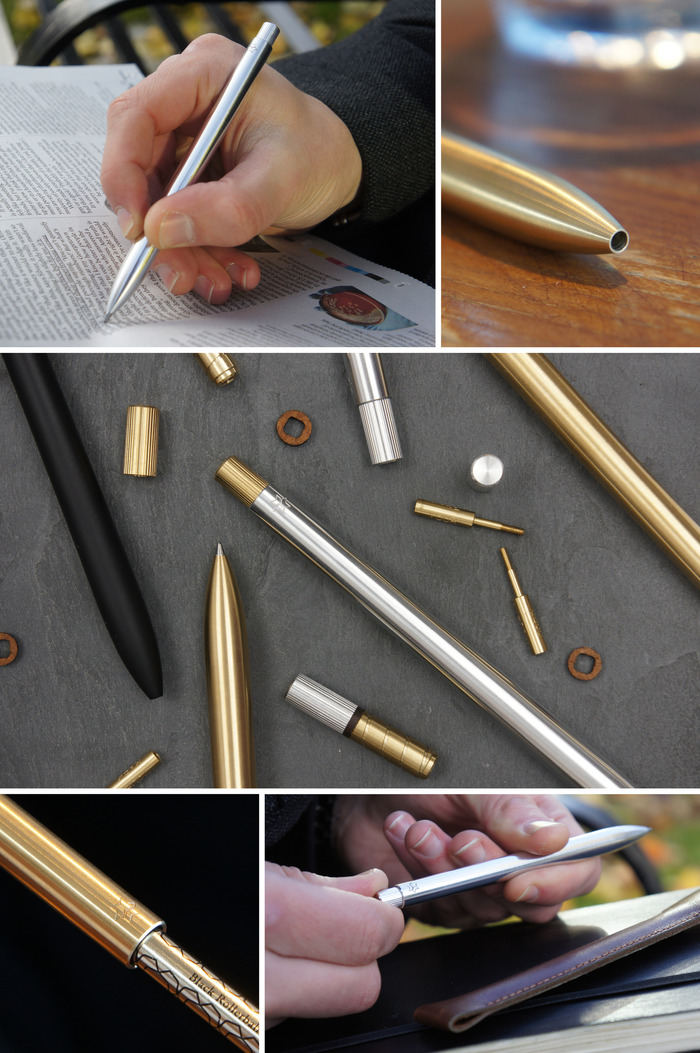 The pen will be available in aerospace grade aluminium and brass.