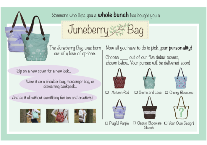 Let someone know you bought her a Juneberry Bag for the holidays!