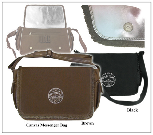 "Reward #3: 18""x11.5"" Messenger Bag in sturdy 100% cotton canvas transports laptop, books, and work/school ""stuff"" in style. Front flap reinforced wtih reflective silver lining; lots of slots; fully lined; cross-body web belt"
