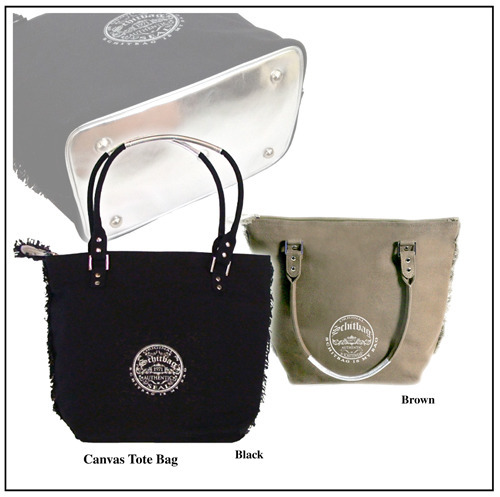 """Reward #3: Tote Bag with handy compartments in durable 100% cotton canvas.  Exclusive silver piping and frayed edges.  Stands upright on silver reflective base with metal """"feet."""" Strong handles reinforced with silver"""
