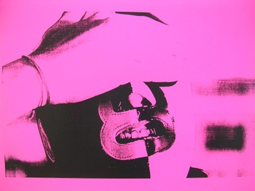 """Single image from """"Banana Clip"""" series by CVO Projects, black xerox on colored paper, 18 x 24"""