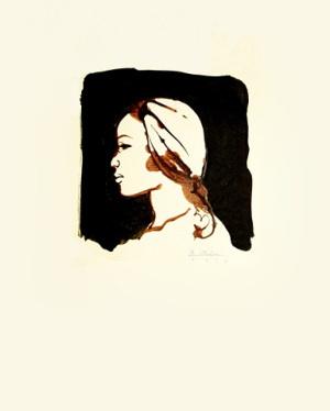 Impresión del perfil de una mujer