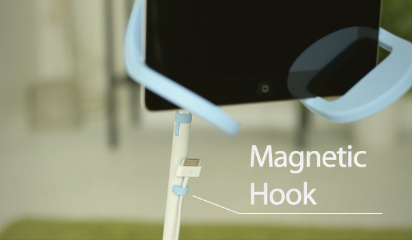 The accompanying magnet hook securely fastens your iPad's cable to the Manatee's pole.