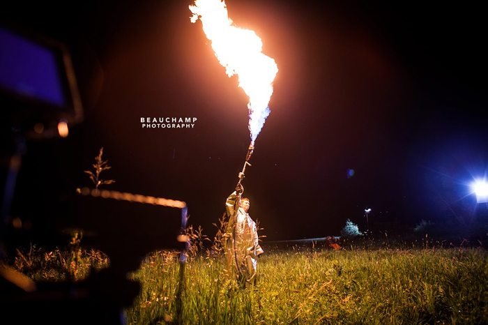 Pro SPFX Supervisor Josh Hudon lights a scene with a flame thrower.