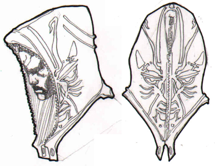 GlyphX head profiles wearing the hoodie of the Khasmic Dashiki.