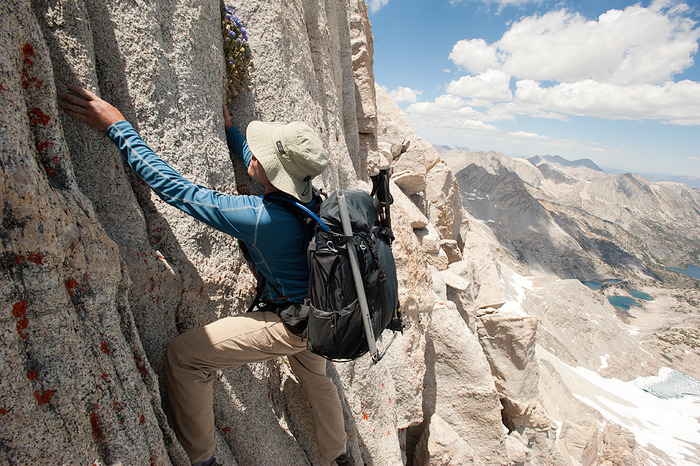 Product testing high on Bear Creek Spire, High Sierra, California