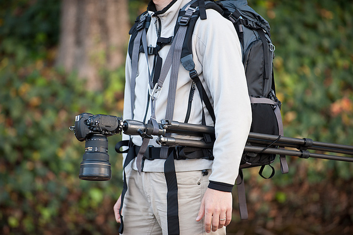 The Tripod Suspension Kit is an innovative accessory that allows hands-free mobility with your tripod-mounted camera attached to the shoulder harness.