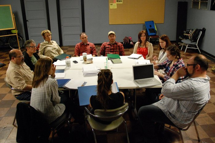 Cast, Director, Stage Manager and Playwright in an early reading of Beating Up Bachman