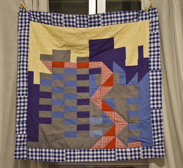Edna Gee, «Progress and development», 2012,  three blankets, 120 x 120 cm each