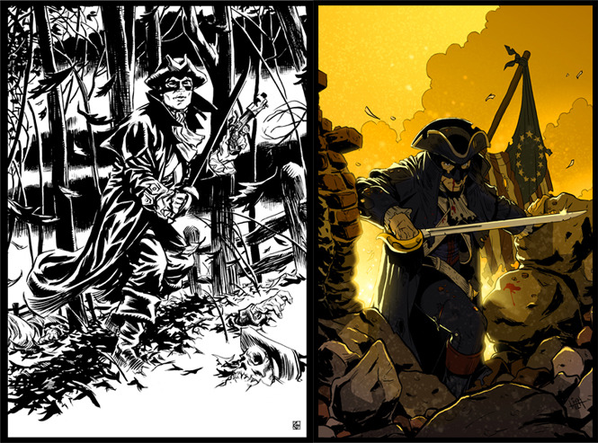 Art by Dean Kotz (left) and Ben Lichius (right).