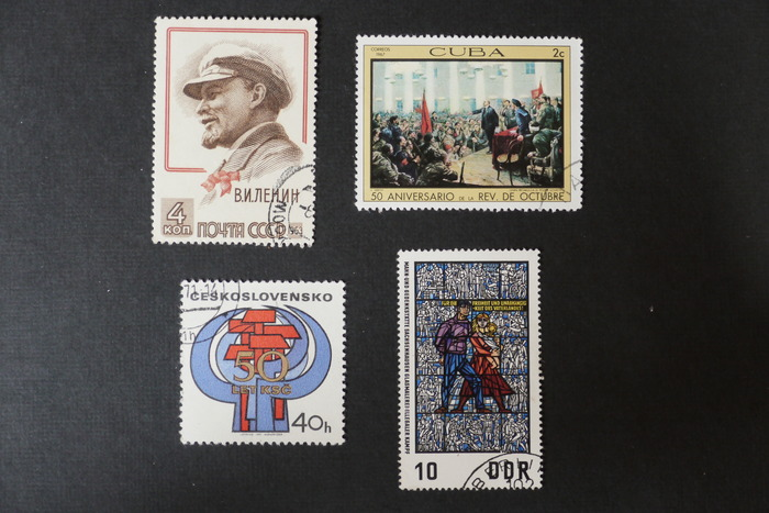 Communist era postal stamps from various communist countries