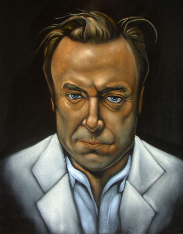 (Christopher Hitchens velvet painting by Chris Henry---example of velvet painting reward)