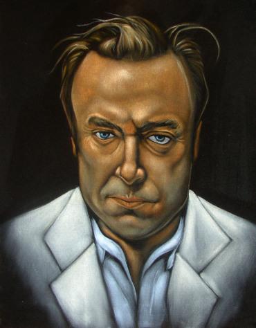 (Christopher Hitchens velvet painting by Chris Henry---example of velvet painting reward)
