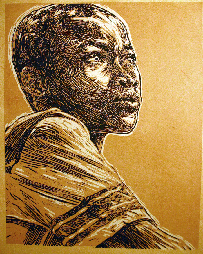 "Swoon's ""Walki"", portrait of a young boy from Cormiers."
