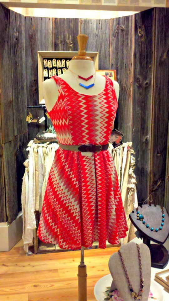 Production this year included That Western Skyline red zigzag dress. Photo at a local storefront in St.Louis.
