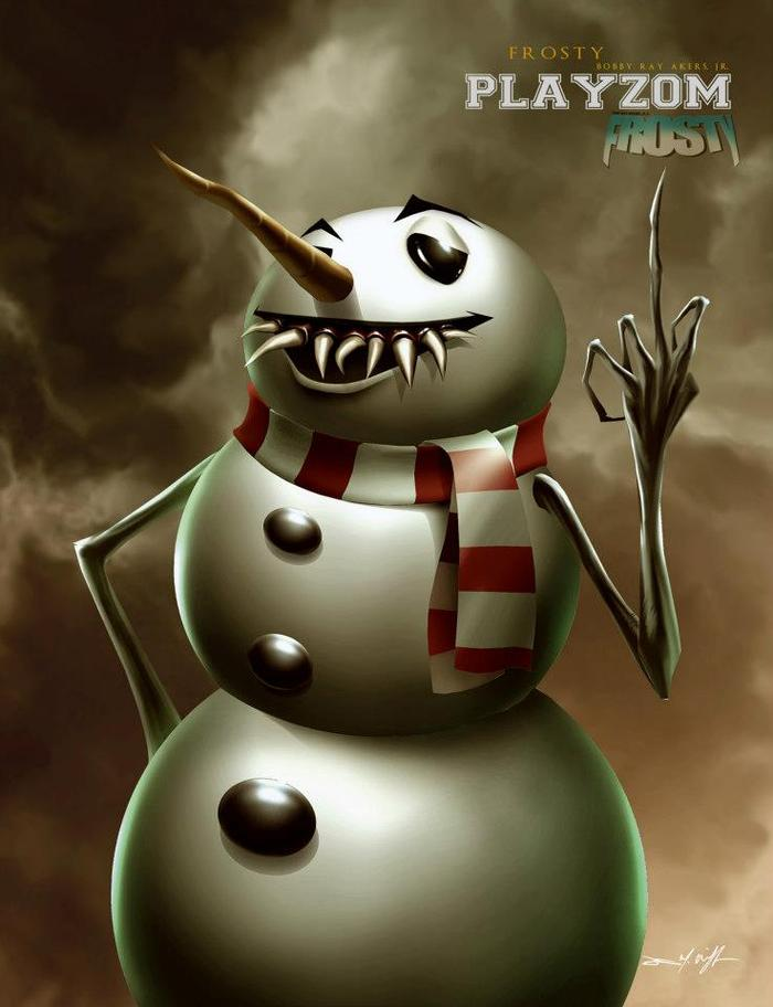 FROSTY. Digital painting 2012, by Dennis M. Willman. Modeled off of Bobby Ray.