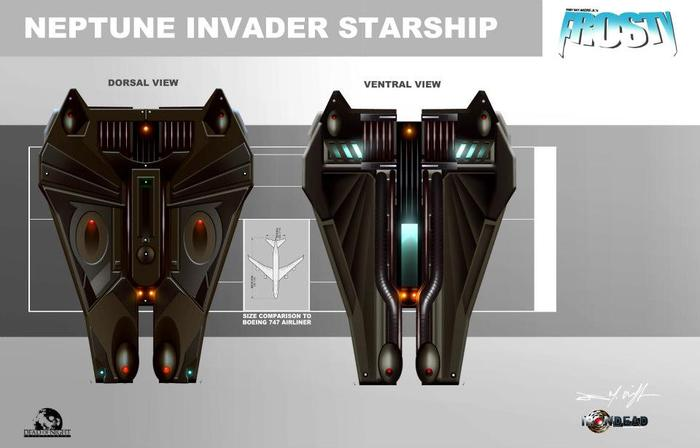 NEPTUNE INVADER STARSHIP, design schematics dorsal/ ventral in comparison to a Boeing 747. Digital painting 2012.