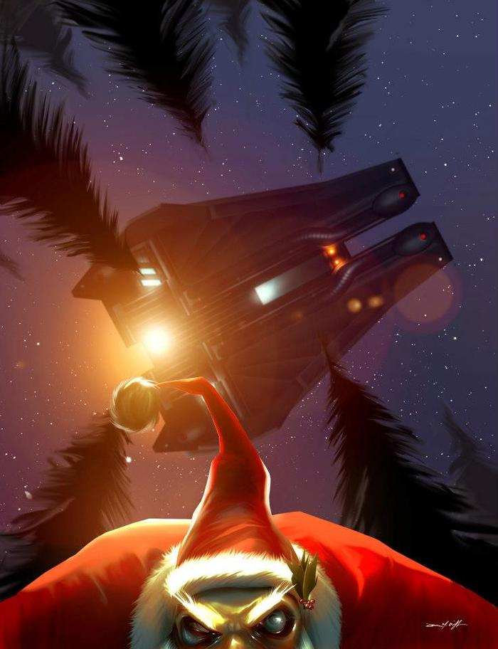 "A rabid Santa, infected with an alien pox, attempts to elude the Neptunians. ""FROSTY"", digital painting 2012."