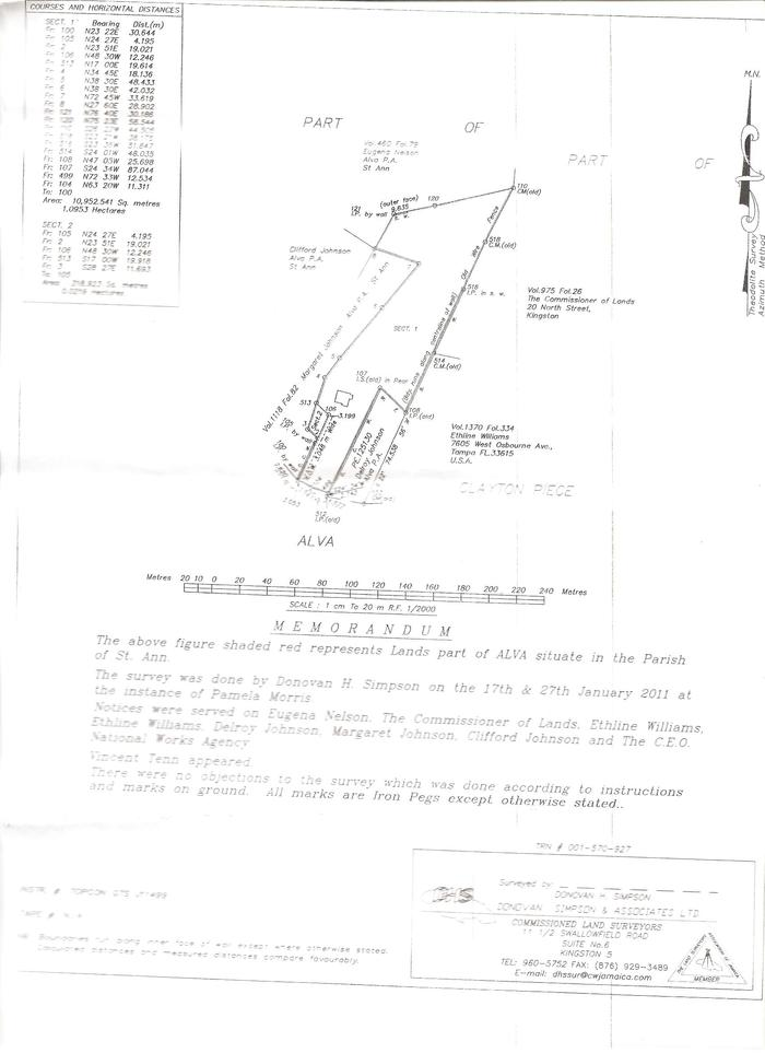 Diagram of property in Nile MIle District, St. Ann, Jamaica