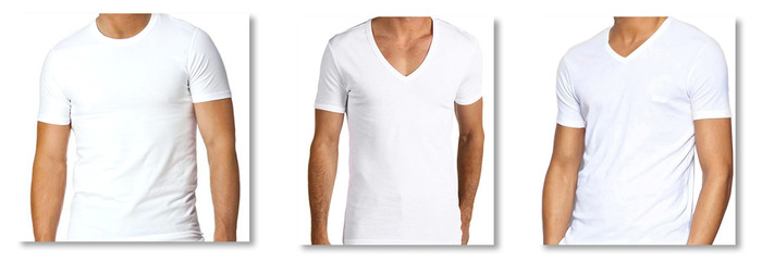 crew neck, deep v-neck, and standard v-neck