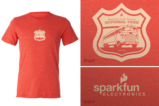 The SparkFun National Tour Commemorative T-Shirt