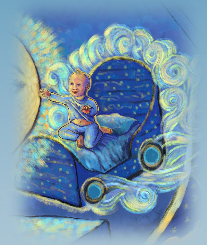 In his dream, our protagonist can go anywhere in his Blue Painted Wagon bed.