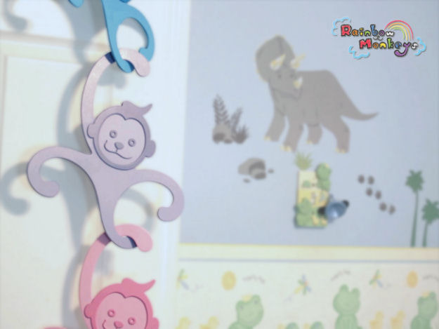Rainbow Monkeys as decoration for your child's room.