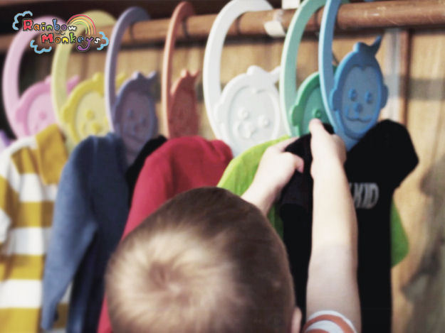 Rainbow Monkey hangers are stylish and foster a sense of organization.