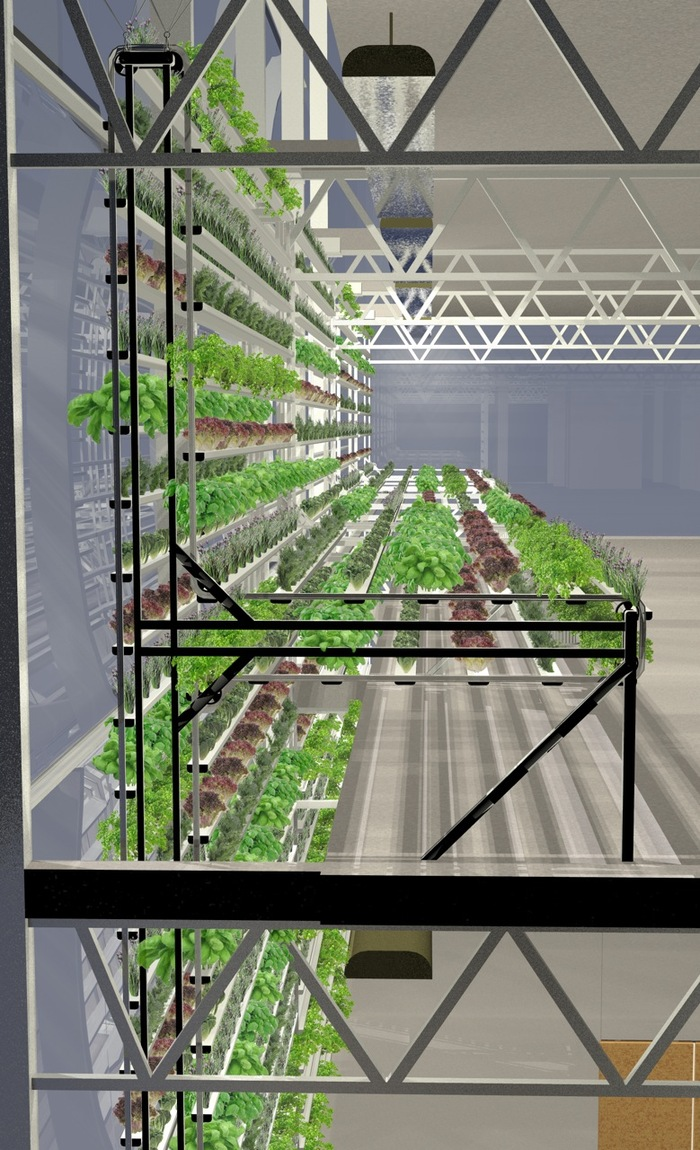 A rendering of the unique growing system