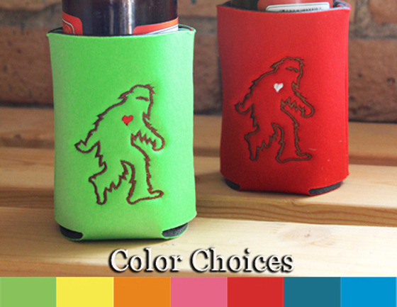 Sasquatch Drink Koozie. Holds standard 12 oz. bottles and 8 oz. cans.