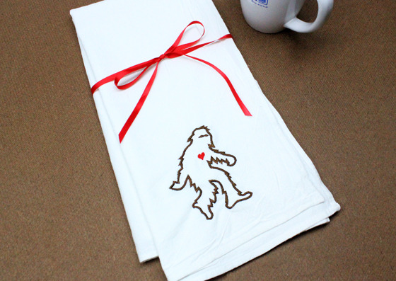 Sasquatch Flour Sack Towel. 100% Cotton, 30x30""