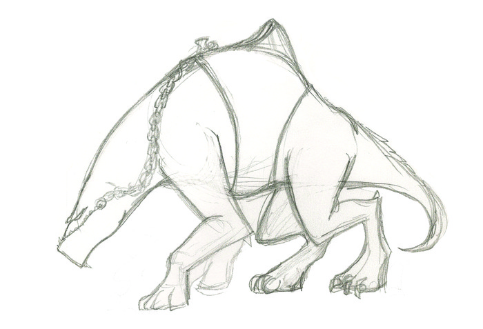 Concept sketch of one of the creatures in The Shadow of the Gauntlet