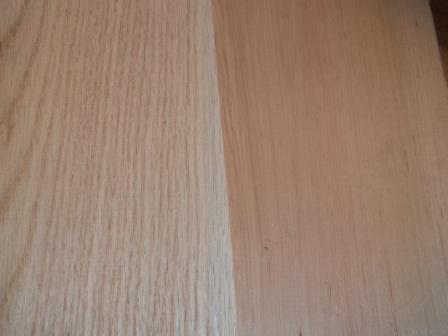 Left: oak grain close-up; Right: maple grain close-up