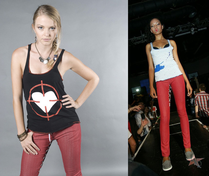 Heart Scope Tank (colors:red,purple,white,black) // Heart Blaster Tank (colors:green stripe,black/gray stripe,blue stars on white) sizes:XS-XL // Laced Skinny Jeans, Men's/Women's (colors:red,gray,blue,white,black) sizes:22-34