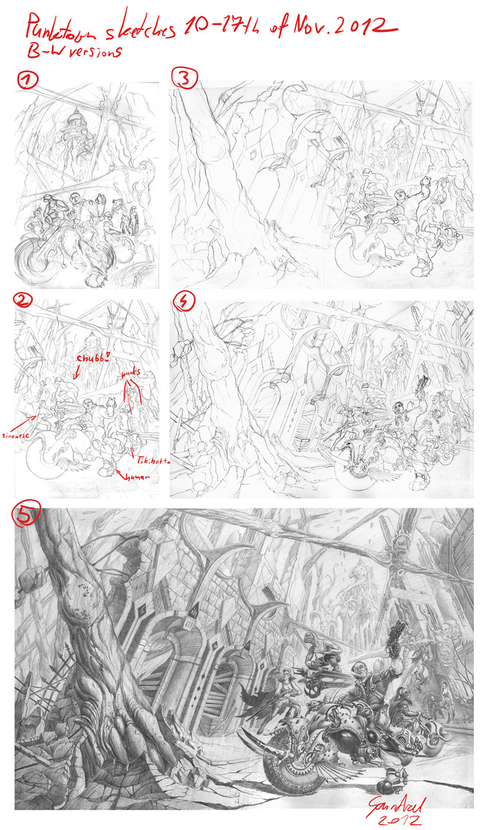 Here are the work-in-progress sketches.