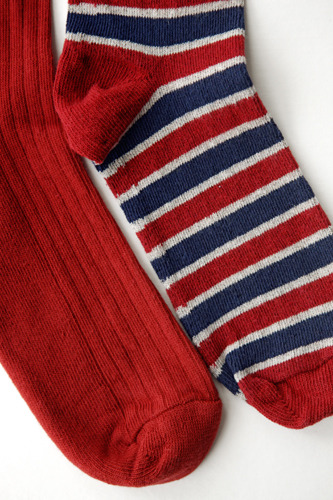 red solid and red/navy/cream stripe