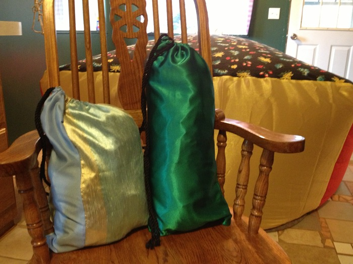 Matching draw string bags for easy storage