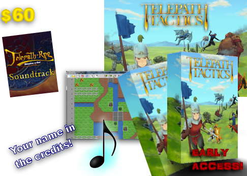 NEW! Digital all-in! At $60, get the game, early access, digital art, your name in the credits, the map editor, the soundtrack, a 2nd copy of the game for a friend, AND the awesome 30-track soundtrack to Telepath RPG: Servants of God!
