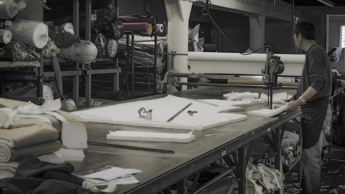 The cutting table at our production facility.