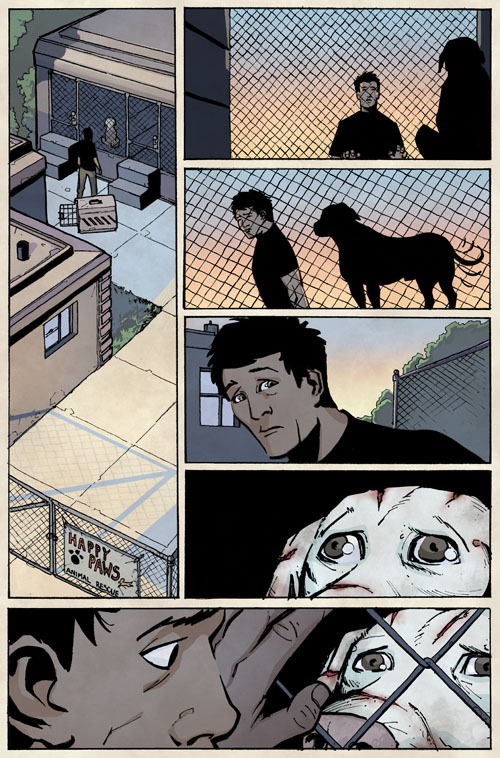 From Issue 1 (unlettered): Damon shares a moment with a rescued fighting dog