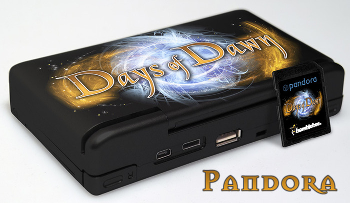 "A stunning limited edition custom 1GHz Pandora, limited to 10 devices worldwide, coming in a beautiful Days of Dawn look and signed by ""EvilDragon"", one of the device's developers inside of the handheld"