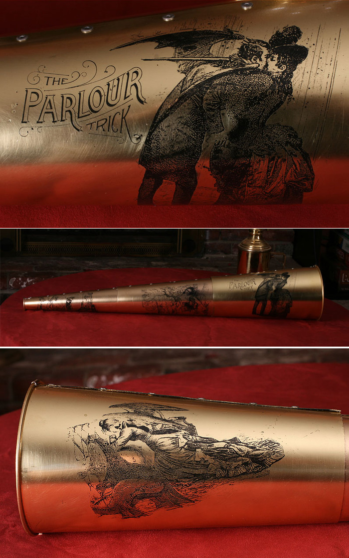 "THE SPIRIT TRUMPET: Limited edition, acid-etched, painstakingly hand-wrought brass trumpet by Jake Von Slatt of the Steampunk Workshop, featuring panels from Max Ernst's ""Une semaine de bonté""."