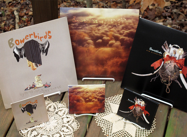 Bowerbirds entire back catalog on CD or vinyl.  Also comes bundled with the new album, unreleased tracks album, Danger at Sea, etc.