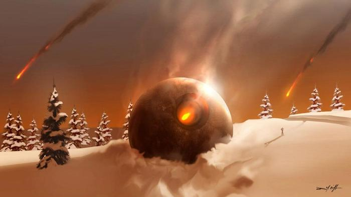 FROSTY: Twas the Night Before the Apocalypse. Alien spheres crash to Earth in Northern Canada as Clint (character modeled after Brett Wagner) looks on. Digital painting 2012.