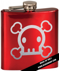 Limited edition laser-engraved red-gloss Disko Warp flask