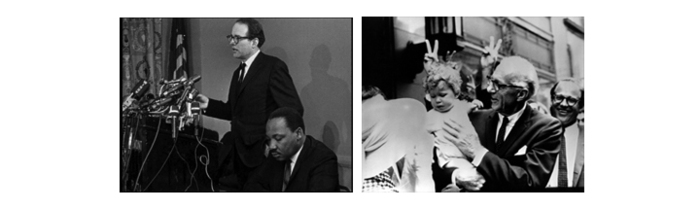 with Martin Luther King, Jr. (photo: John Goodwin), with Dr. Benjamin Spock
