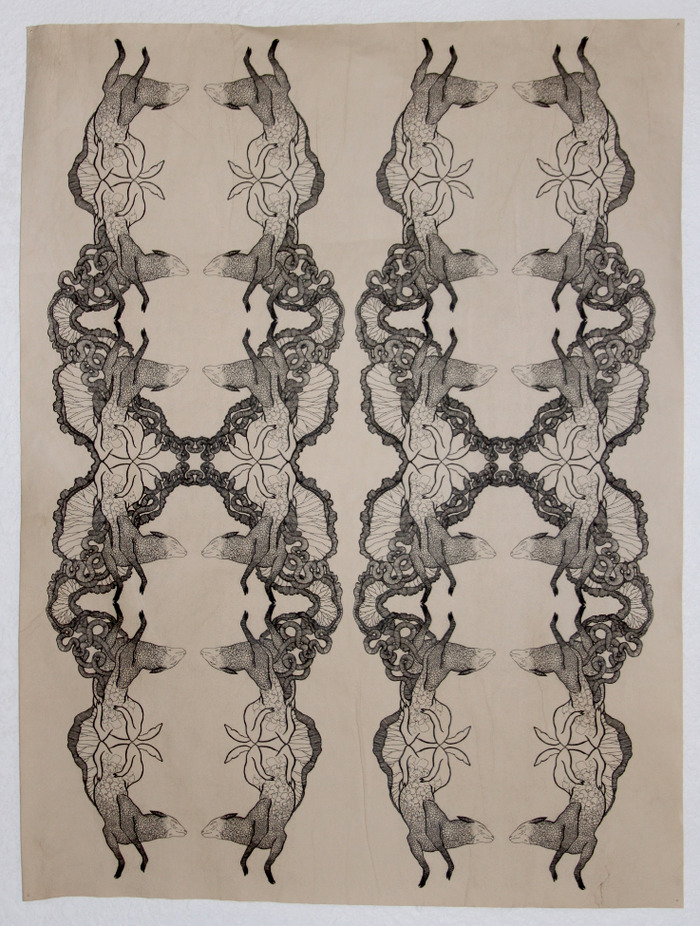 """Unfolding with sheep"" by Alida Bevirt, inkjet print on stained paper, approx 18 x 30, Unframed"