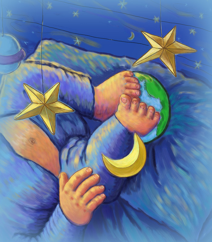 Here is a close-up from the first image of the story.  The little boy is not yet ready to go to sleep.  His is more interested in the stars and moon that hang over his Blue Painted Wagon bed.