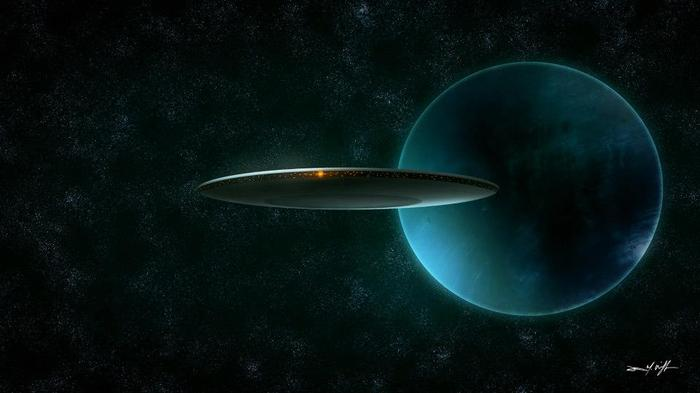FROSTY: Twas the Night Before the Apocalypse. The mother ship leaves Neptune orbit for Earth. Digital painting 2012.